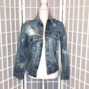 Vintage bleach distressed denim jacket size small
